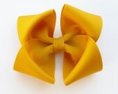 mustard yellow hair bow--3.5 inch thanksgiving fall hair accessories for baby toddlers and big girls