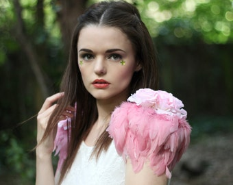 Rose and feather shoulder pieces, floral feather wings,pastel  pink wings, white swan, rose shoulder pieces