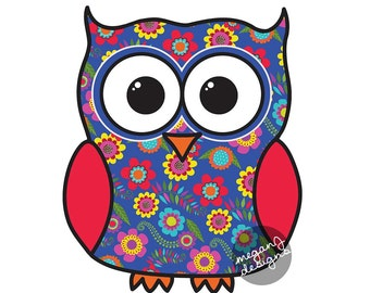 Blue Floral Owl Car Decal Sticker: Cute Colorful Owl Bumper Sticker Laptop Decal Red Yellow Blue Orange Flower