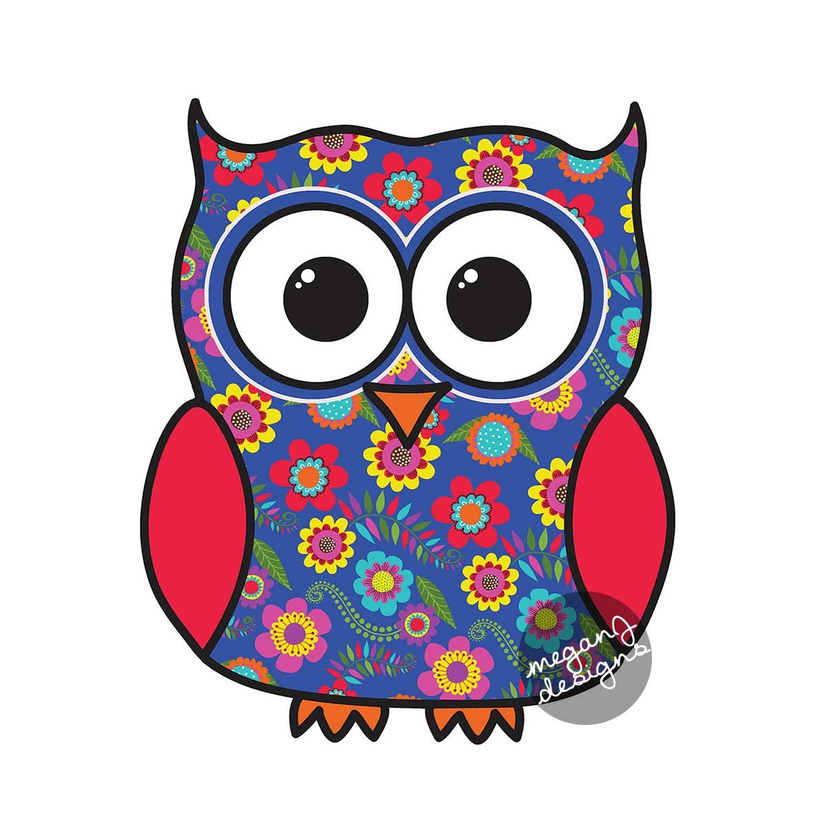 Blue Floral Owl Car Decal Sticker Cute Colorful Owl Bumper - Decals and stickers for cars