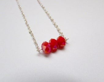 Red Crystal Beadbar Necklace with Silver Chain