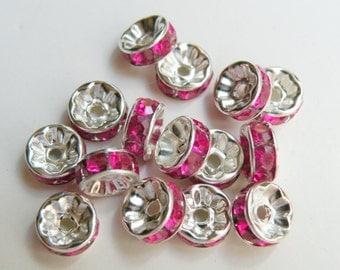 20 Fuchsia Hot Pink rhinestone rondelle spacer beads 8mm DB19829