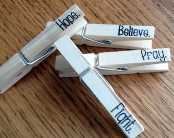 decorative clothespins, hand stamped, magnetic clips. inspirationalm encouraging design-- set of 4