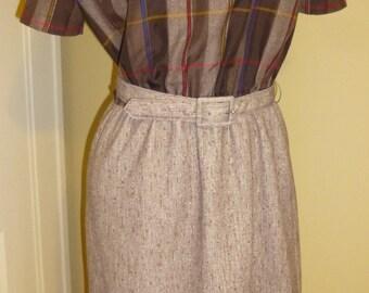 Dress Vintage 1960s New Look Era Mad Men Brown Pretty Plaid and Tweed