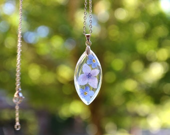 Purple Hydrangea and Forget Me Not Real Pressed Flower Resin Pendant