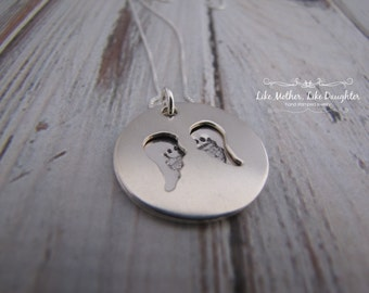 Hand Stamped Jewelry - Baby Memorial Necklace - Memorial Locket - Angel Wing Baby Feet Memorial Jewelry Mothers Day Gift