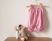 Light pink hearts cotton baby bubble suit, valentines day sunsuit, size 00 girls, 3 - 6 months baby clothing, summer baby romper one piece