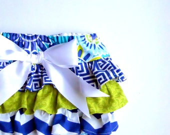 Baby Girl Bloomer-Royal Blue and Lime diaper cover--Chevron--ruffle diaper cover--Floral Bloomer--Fall--Baby Girl Fall