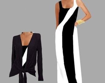 Women's Maxi Chevron Black & White  With Drop Jacket Made To Measurement