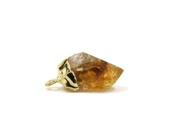 """Citrine Point Raw Crystal Gold Pendant Mini 18mm - 22mm / .7"""" - .9"""" Rough Golden Yellow Orange Stone Focal for Jewelry Making (Lot BZ06)"""