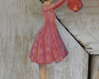 Pink Lady of The Cotillion Shrink Art Plastic Pin/Brooch - OOAK Jewelry handmade jewelry - girls - women