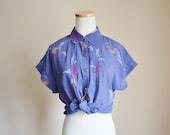 Purple Shirt - 70s, abstract print, pink, white, orange, pleats, high round collar, medium - large, US 10 - 12