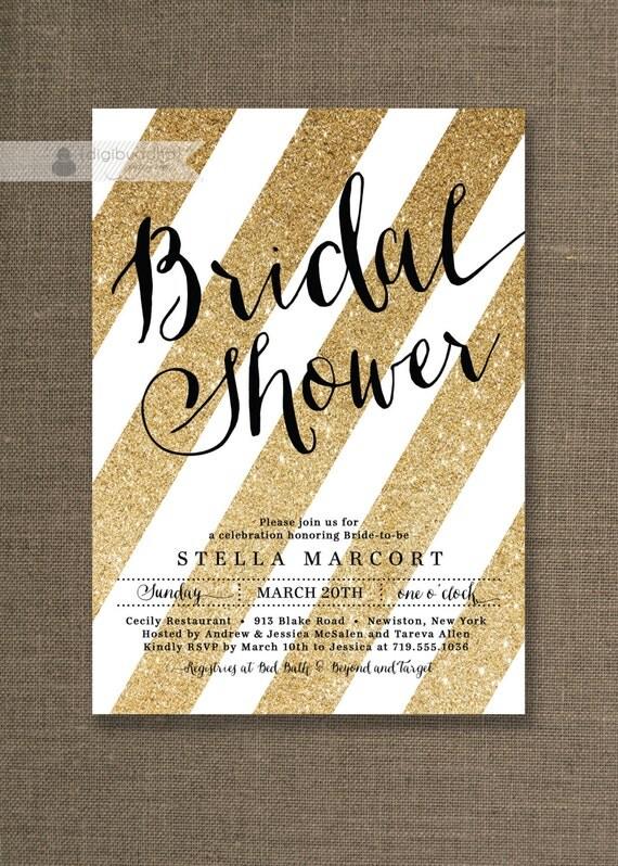 Black gold bridal shower invitation glitter stripes metallic for Black and gold wedding shower invitations