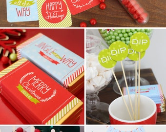 CHRISTMAS Printable Set - Hot Cocoa Bar - Jingle All The Way - Includes Cupcake Toppers, Bunting, Candy Wrappers, Gift Tags and more