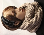 Chunky Infinity Scarf Tan Crochet Ready to Ship Free Shipping