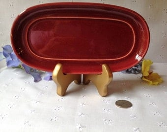 Vintage Pottery Butter Dish in Burgundy No Marks