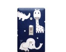 Navy Blue and Gray Elephant Giraffe Nursery Decor / Light Switch Plate Cover / Baby Boy Safari / Slightly Smitten Kitten