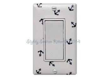 Anchor Rocker Decora Light Switch Plate Cover / Nautical Nursery Bathroom Decor / Boys Girls Room / White Navy Blue