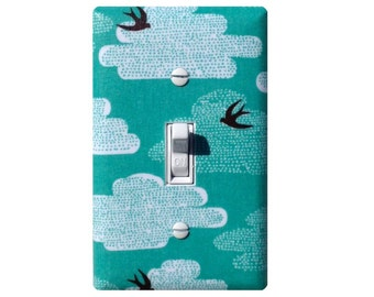 Light Switch Plate / Swallows and Clouds / Aqua Blue Black White / Japanese Swallow Birds