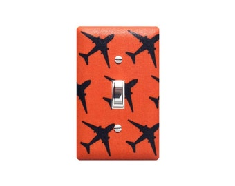 Airplane Light Switch Plate Cover / Baby Boy Nursery Plane / Orange and Navy Blue