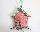 dream blooming spring cottage in pale red  - papier mache - wall art - home decor - cottage decor - FREE SHIPPING