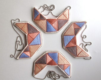 Embroidered bib necklace geometric shapes in soft tans rose lavender and taupe An Astrid Endeavor original design