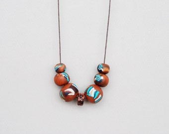 Polymer clay necklace, Brown and Turquoise