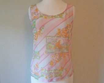 70's Valentine Novelty Print Victorian Bird Sheer Pastel Nylon Tank Top Disco Shirt Nightie S M