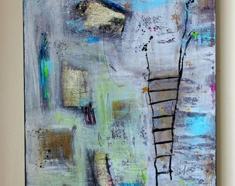 Original Mixed Media Art Collage Abstract Painting on Canvas by Heroux - PROMISES TO NOWHERE