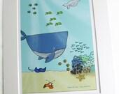 Nautical nursery decor SEA CREATURES print, bedroom picture, seaside, nautical, children's print, kids gift