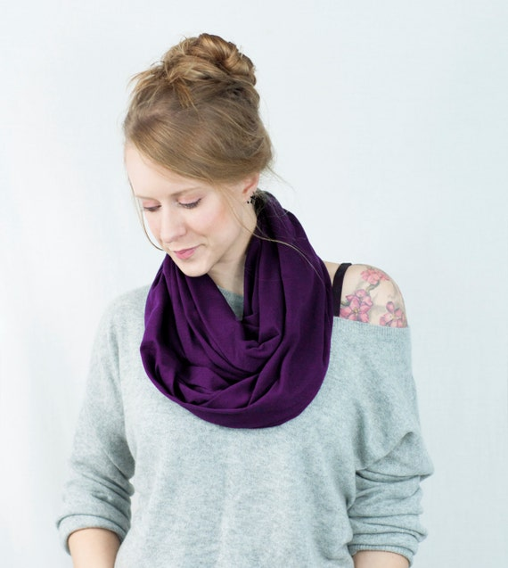 Purple Infinity Scarf, Aubergine Scarf, Plum Scarf, Purple Scarf, Circle Scarf, Womens Scarf, Spring Scarf, Gift for Her Wife Gift, Mom Gift