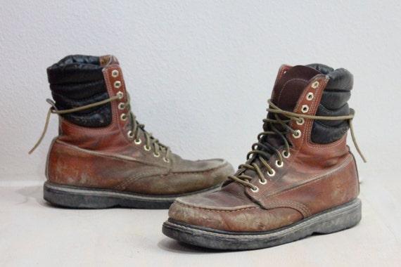 Vintage Mens Rustic Leather Work Boots Sz 8E