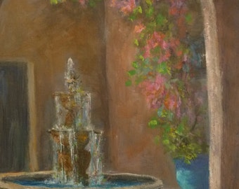 Original Tuscan Landscape Fountain Painting