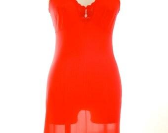 Vassarette - Vintage Slip Dress - Bombshell Red Lace - Totally cute