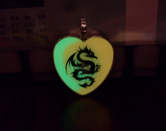 GLOW in the Dark DRAGON Silhouette Charm Pendant Necklace -- Choose Color and Shape