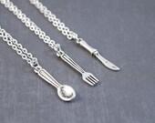 Friendship Necklaces - Silverware Jewelry - Best Friend Friendship Jewelry - 3 Friendship Necklace - Spoon, Fork, Knife