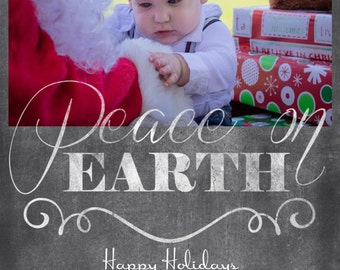 Peace on Earth Chalk Board Christmas Card Template 5x7
