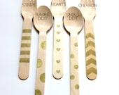 METALLIC GOLD Hand stamped utensils-gold forks-gold spoons-bridal shower-baby shower-gold chevron-wedding-25 utensils