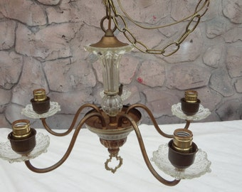 5 arm brass crystal vintage chandelier parts or use as it Architectural Salvage