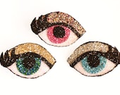 Glitter Eye Brooch and Hair Clip - Blue or Green or Pink