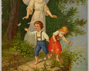 Antique Chromolithograph Religious Poster Guardian Angel