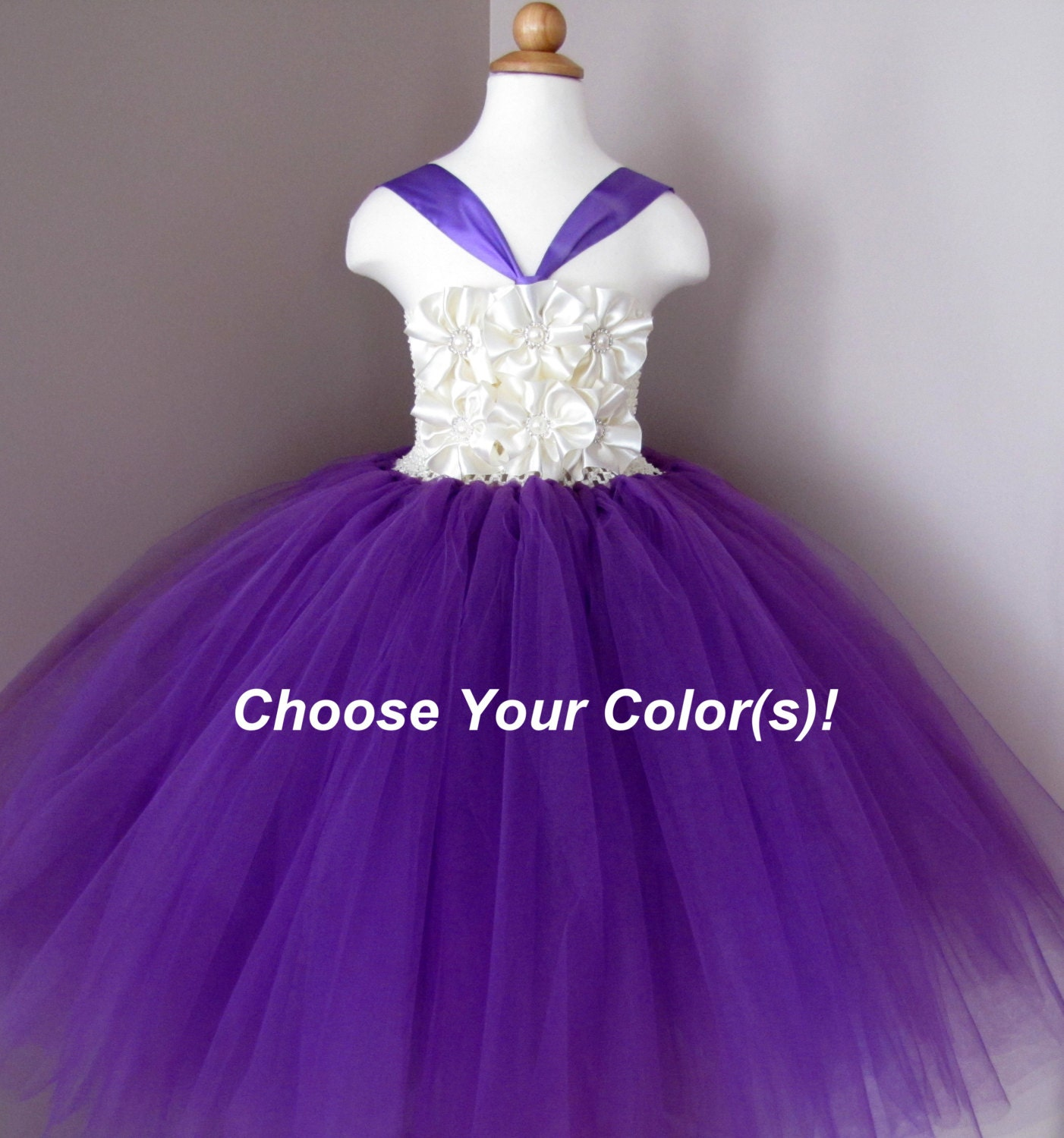 Flower girl dresses purple and ivory cheap wedding dresses for Purple and ivory wedding dress