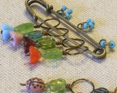 Flowers and Lady Bugs Knitting Stitch Markers Set of 6 Knitting Markers Made with Czech Glass Beads - With Holder (FLBSM-72014)