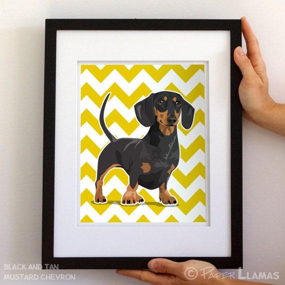 Dachshund Wiener Dog art print black and tan or red Doxie- custom dog wall art - chevron puppy pictures custom dog portrait art for boys