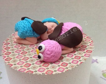 Fondant Twin Owl Baby Shower Cake topper - Edible Owl Cake Toppers
