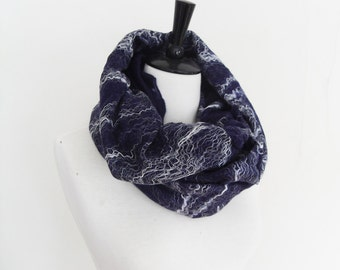 Navy Blue Cobweb cowl Scarf circle scarf Infinity Scarf lace Felted 2 in 1 shrug