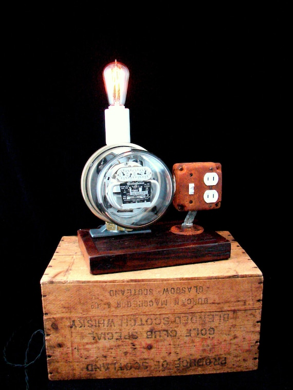 Charging Station Lamp Upcycled Vintage Electric Meter