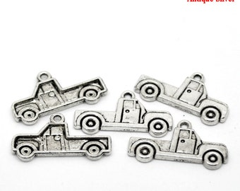 Silver Truck Charms Antique - 26x15mm - 10pcs - Ships IMMEDIATELY from California - SC844