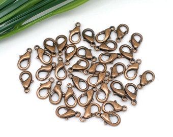 10 Copper Lobster Clasp Antique Tone - 14x7mm - Ships IMMEDIATELY from California - FC92