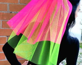 Bachelorette party Veil Bright 2-tier neon green and hot pink veil, middle length. Bachelorette veil, wedding veil, hens party veil